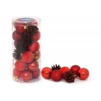 Набор 24 шара+шишки (д=5 см) пластмасса (100296)