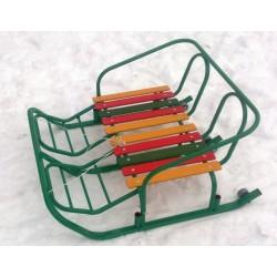 """Санки детские металлические для двойни. Расположение детей """"Бок-о-бок"""" (зеленый)"""