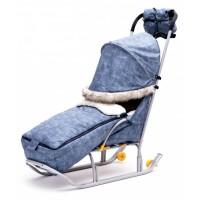 Комплект для санок Джинс Лайт - матрасик + варежки + крыша (Синий)