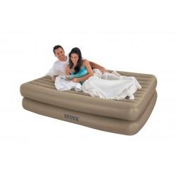 Надувная кровать Intex светлая с эл. насосом 220В (152х203х51см) 66704