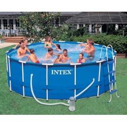 Каркасный бассейн Intex Metal Frame Pool (457х122см)+ насос-фильтр, лестница, тент, подстилка (54946) 28236