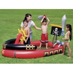 Надувной игровой центр с бассейном Bestway Пираты 191х140х97см, 190 л, в комплекте 2 меча, водяная пушка, штурвал (53041B)