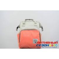 Сумка-рюкзак для мамы LeQueen с USB (серый-коралловый (полоска)