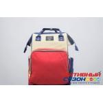 Сумка-рюкзак для мамы LeQueen с USB (красный, синий, белый)