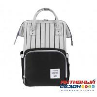 Сумка-рюкзак для мамы LeQueen с USB (серый-черный (полоска)