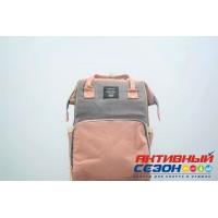 Сумка-рюкзак для мамы LeQueen с USB (серый-розовый)