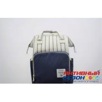 Сумка-рюкзак для мамы LeQueen с USB (серый-синий, полоска)