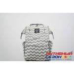 Сумка-рюкзак для мамы LeQueen с USB (зеленый, волна)