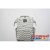 Сумка-рюкзак для мамы LeQueen с USB (серый-белый, волна)