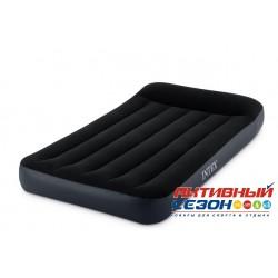Надувной матрас-велюр Pillow Rest Classic Bed Intex черный (99х191х25) 64141
