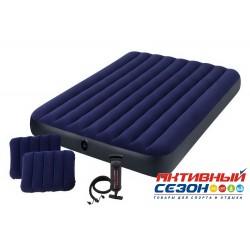Надувной матрас-велюр синий Intex (152х203х25) + 2 подушки + ручной насос 64765