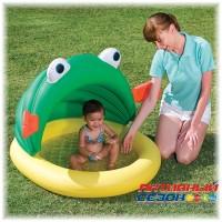 Надувной детский бассейн Bestway со съёмным надувным навесом от солнца Лягушонок (107х104х71см) 52162