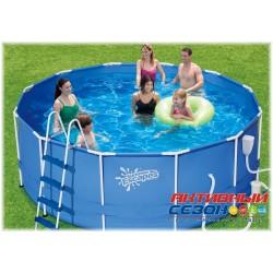 Каркасный бассейн Summer Escapes (366х122см) + фильтр-насос, лестница, настил, тент, набор для чиски DELUXE, скиммер (Р20-1248-В)