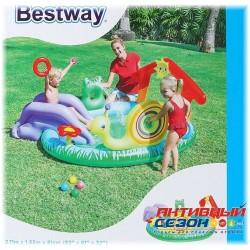 Надувной игровой центр-бассейн Bestway «Зверушки» с игрушками и шариками (211×155×81 см) 53055