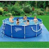 Каркасный бассейн Summer Escapes (366х132см) + фильтр-насос, лестница, настил, тент, набор для чиски DELUXE, скиммер (Р20-1252-В)