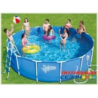 Каркасный бассейн Summer Escapes (457х122см) + фильтр-насос, лестница, настил, тент, набор для чиски DELUXE, скиммер (Р20-1548-В)