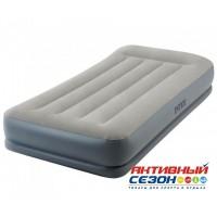 Надувная кровать с подголовником Intex с встроенным насосом 220В (99х191х30 см) 64116