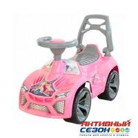 Каталка Машина розовая для катания детей, со звуком Ламбо