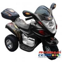 Скутер на аккумуляторе, звуковые и световые эффекты (черный)