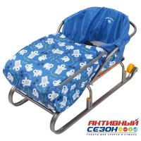 Сиденье для санок с чехлом для ног СС3 (Медвежата синий)