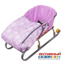 Сиденье для санок с чехлом для ног СС3 (Снежинки розовый)