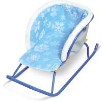 Сиденье мягкое на санки с мехом СС2-2 (Снежинки на голубом)