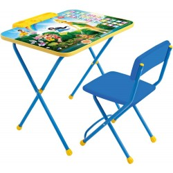 Комплект детской мебели Ника Детям Disney 2 Феи. Азбука (стол складной с пеналом + стул складной, мягкий из легкомоющейся ткани)