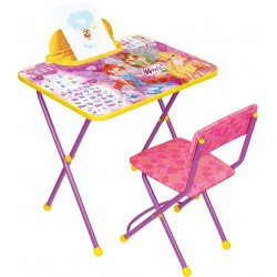 """Комплект детской мебели Ника Детям """"Winx 2 Азбука"""" (стол складной с пеналом+стул с мягким сиденьем из легко-моющейся ткани)"""