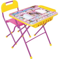 Комплект детской мебели Ника Детям Азбука 3: Маша и Медведь с большим пеналом под столешницей (стол складной+стул пластм. складной)