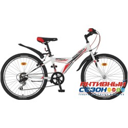 "Велосипед NOVATRACK RACER (24"" 6 скор.) (Р-р = 10""; Цвет: Белый) Рама Сталь"