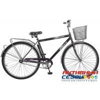 Велосипед дорожный FOXX FUSION + передняя корзина (28'' 1 скор.) (Цвет: Черный)