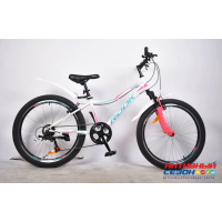 "Велосипед Rook MS241W (24"" 7 скор.) (  Цвет: белый/розовый) Рама сталь"