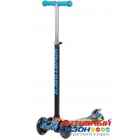 Самокат-кикборд Novatrack RainBow, подростковый, свет. колеса, неоновый цветной дизайн (синий)