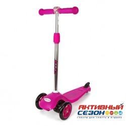 Самокат Moby Kids регулируемая по высоте ручка, фонарик (розовый) 64659