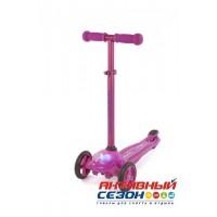 Самокат Moby Kids регулируемая по высоте ручка, подсветка (пурпур) 64962