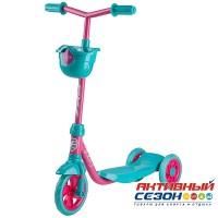 Самокат городской Foxx Baby с корзинкой, пластиковой платформой и EVA колесами 115мм (фиолетовый-бирюзовый)