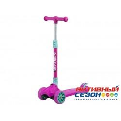 Самокат-кикборд Novatrack RainBow, подростковый, складной механизм на руле, широкие свет.колеса (розовый)