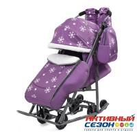 Санки-коляска Pikate Снежинки (Фиолетовый)