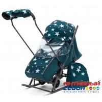 Санки-коляска Pikate Звезды (аквамарин)