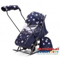 Санки-коляска Pikate Звезды (синий)