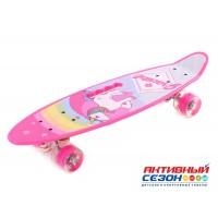 Скейтборд пластиковый с принтом. Размер доски 60*17 см. Колеса PU СО СВЕТОМ, алюминиевая подвеска