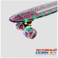 """Скейтборд пластиковый Transparent 22"""" Light 2018 (Синий; Желтый; Фиолетовый; Бирюзовый; Черный; Зеленый)"""