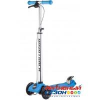 Самокат-кикборд Novatrack RainBow, подростковый, ручной тормоз, свет. колеса (голубой)