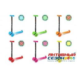 Трехколесный самокат, регулируемая складная ручка, свет. колеса, подсветка боков деки (цвета в асс.)