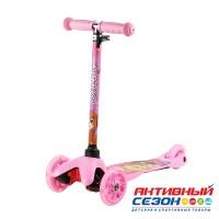 """Трехколесный самокат CITY-RIDE """"Мила"""", 3D-наклейка на деке, колеса PU 110/76 со светодиодами (Розовый,Фиолетовый)"""