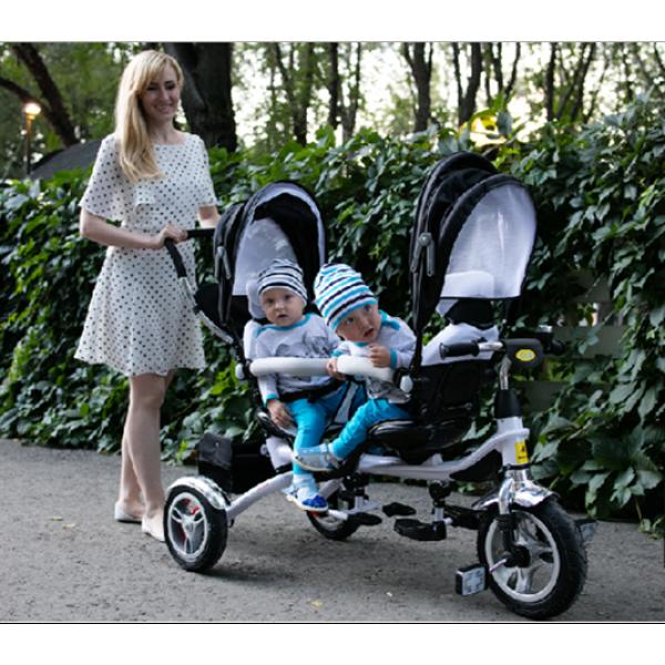 """велосипед для двойни (twins), надувные колеса 12"""" и 10"""" (черный) HD73"""