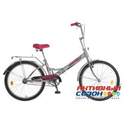 Велосипед складной Novatrack FS-24 (2018) (24'' 1 скор.) (Цвет: Серый) Рама Сталь