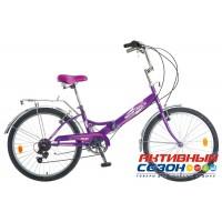 Велосипед складной Novatrack FS-24 (2018) (24'' 6 скор.) (Цвет: Фиолетовый) Рама Сталь