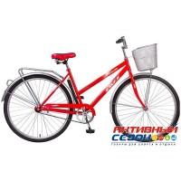 """Велосипед FOXX LADY FIESTA + передняя корзина (28"""" 1 скор.) (Цвет: красный; фиолетовый) Рама Сталь"""