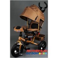 """Трехколесный велосипед  STREET TRIKE (бежевый) фара, амортизатор, надувные колеса 12"""" и 10"""" A03D"""